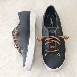 Sperry Seacoast Canvas Sneakers Slip On Navy SZ 7